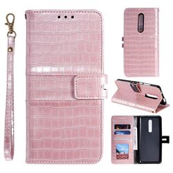 Luxury Crocodile Magnetic Leather Wallet Phone Case for LG Stylo 5 - Rose Gold