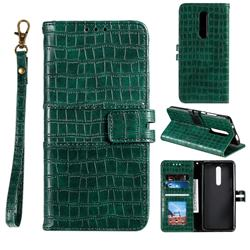 Luxury Crocodile Magnetic Leather Wallet Phone Case for LG Stylo 5 - Green