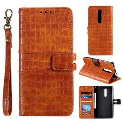 Luxury Crocodile Magnetic Leather Wallet Phone Case for LG Stylo 5 - Brown