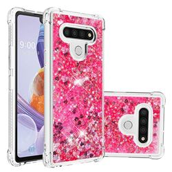 Dynamic Liquid Glitter Sand Quicksand TPU Case for LG Stylo 6 - Pink Love Heart