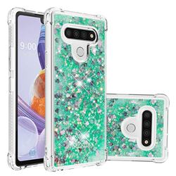 Dynamic Liquid Glitter Sand Quicksand TPU Case for LG Stylo 6 - Green Love Heart