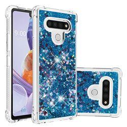 Dynamic Liquid Glitter Sand Quicksand TPU Case for LG Stylo 6 - Blue Love Heart