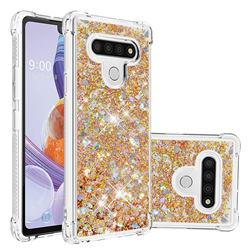 Dynamic Liquid Glitter Sand Quicksand TPU Case for LG Stylo 6 - Rose Gold Love Heart