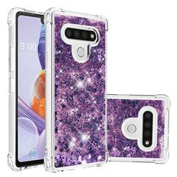Dynamic Liquid Glitter Sand Quicksand Star TPU Case for LG Stylo 6 - Purple