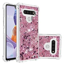 Dynamic Liquid Glitter Sand Quicksand Star TPU Case for LG Stylo 6 - Diamond Rose