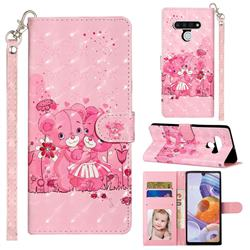 Pink Bear 3D Leather Phone Holster Wallet Case for LG Stylo 6