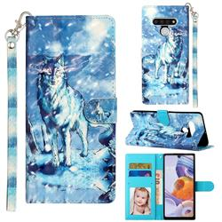 Snow Wolf 3D Leather Phone Holster Wallet Case for LG Stylo 6