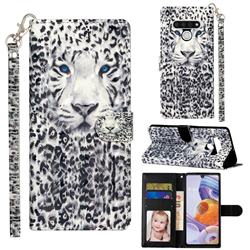 White Leopard 3D Leather Phone Holster Wallet Case for LG Stylo 6