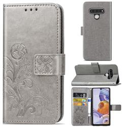 Embossing Imprint Four-Leaf Clover Leather Wallet Case for LG Stylo 6 - Grey