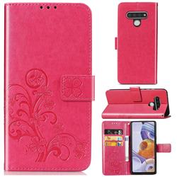 Embossing Imprint Four-Leaf Clover Leather Wallet Case for LG Stylo 6 - Rose Red