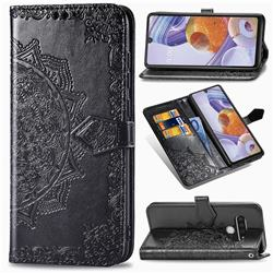 Embossing Imprint Mandala Flower Leather Wallet Case for LG Stylo 6 - Black