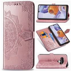 Embossing Imprint Mandala Flower Leather Wallet Case for LG Stylo 6 - Rose Gold