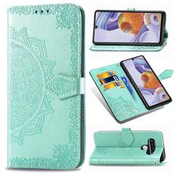 Embossing Imprint Mandala Flower Leather Wallet Case for LG Stylo 6 - Green