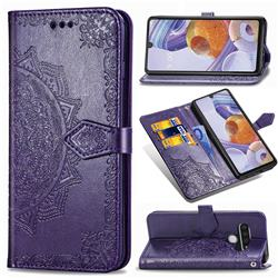 Embossing Imprint Mandala Flower Leather Wallet Case for LG Stylo 6 - Purple
