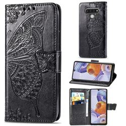 Embossing Mandala Flower Butterfly Leather Wallet Case for LG Stylo 6 - Black