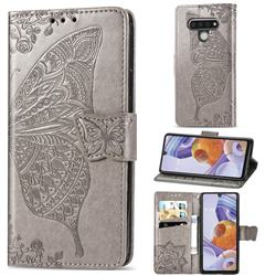 Embossing Mandala Flower Butterfly Leather Wallet Case for LG Stylo 6 - Gray