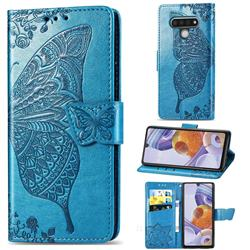 Embossing Mandala Flower Butterfly Leather Wallet Case for LG Stylo 6 - Blue