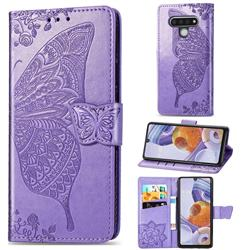 Embossing Mandala Flower Butterfly Leather Wallet Case for LG Stylo 6 - Light Purple