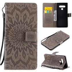 Embossing Sunflower Leather Wallet Case for LG Stylo 6 - Gray