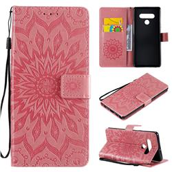 Embossing Sunflower Leather Wallet Case for LG Stylo 6 - Pink