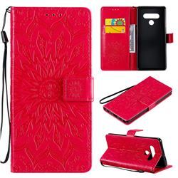 Embossing Sunflower Leather Wallet Case for LG Stylo 6 - Red