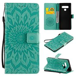 Embossing Sunflower Leather Wallet Case for LG Stylo 6 - Green