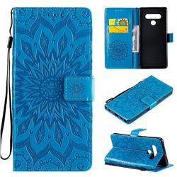 Embossing Sunflower Leather Wallet Case for LG Stylo 6 - Blue