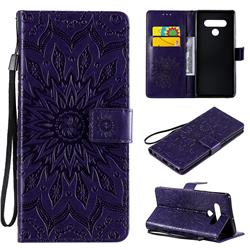 Embossing Sunflower Leather Wallet Case for LG Stylo 6 - Purple