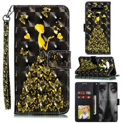 Golden Butterfly Girl 3D Painted Leather Phone Wallet Case for LG Stylo 6