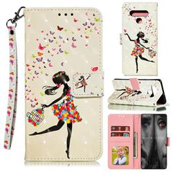 Flower Girl 3D Painted Leather Phone Wallet Case for LG Stylo 6