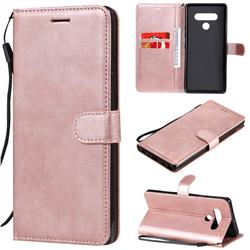 Retro Greek Classic Smooth PU Leather Wallet Phone Case for LG Stylo 6 - Rose Gold