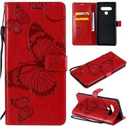 Embossing 3D Butterfly Leather Wallet Case for LG Stylo 6 - Red