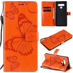 Embossing 3D Butterfly Leather Wallet Case for LG Stylo 6 - Orange