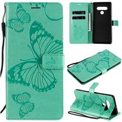 Embossing 3D Butterfly Leather Wallet Case for LG Stylo 6 - Green