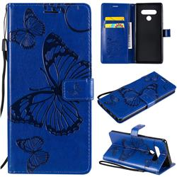Embossing 3D Butterfly Leather Wallet Case for LG Stylo 6 - Blue