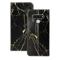 Black Gold Marble PU Leather Wallet Case for LG Stylo 6