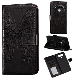 Intricate Embossing Vivid Butterfly Leather Wallet Case for LG Stylo 6 - Black