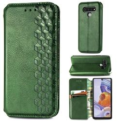 Ultra Slim Fashion Business Card Magnetic Automatic Suction Leather Flip Cover for LG Stylo 6 - Green