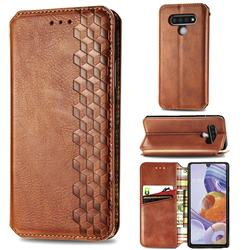 Ultra Slim Fashion Business Card Magnetic Automatic Suction Leather Flip Cover for LG Stylo 6 - Brown