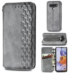 Ultra Slim Fashion Business Card Magnetic Automatic Suction Leather Flip Cover for LG Stylo 6 - Grey