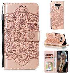Intricate Embossing Datura Solar Leather Wallet Case for LG Stylo 6 - Rose Gold