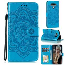Intricate Embossing Datura Solar Leather Wallet Case for LG Stylo 6 - Blue