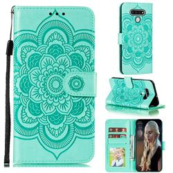 Intricate Embossing Datura Solar Leather Wallet Case for LG Stylo 6 - Green