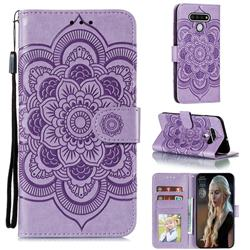 Intricate Embossing Datura Solar Leather Wallet Case for LG Stylo 6 - Purple