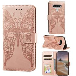 Intricate Embossing Rose Flower Butterfly Leather Wallet Case for LG Stylo 6 - Rose Gold