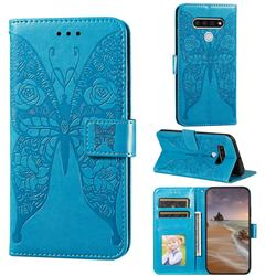 Intricate Embossing Rose Flower Butterfly Leather Wallet Case for LG Stylo 6 - Blue