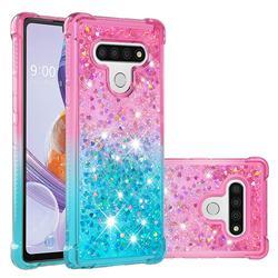 Rainbow Gradient Liquid Glitter Quicksand Sequins Phone Case for LG Stylo 6 - Pink Blue