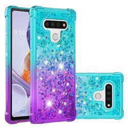 Rainbow Gradient Liquid Glitter Quicksand Sequins Phone Case for LG Stylo 6 - Blue Purple