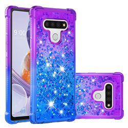 Rainbow Gradient Liquid Glitter Quicksand Sequins Phone Case for LG Stylo 6 - Purple Blue