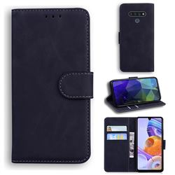 Retro Classic Skin Feel Leather Wallet Phone Case for LG Stylo 6 - Black